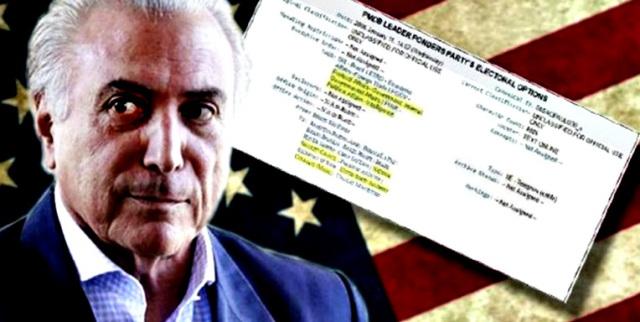 MICHEL TEMER, PRESIDENTE INTERINO DE BRASIL, INFORMABA A LA CIA DESDE 2006 Y COBRABA SOBORNOS DE PETROBRAS. EE.UU. Y EUROPA NO ABREN LA BOCA ANTE EL GOLPE DE ESTADO PERPETRADO POR ESTE DELINCUENTE, AUNQUE YA BENDIJERON ANTES A MICHELETTI EN HONDURAS, A FRANCO EN PARAGUAY Y A POROSHENKO EN UCRANIA
